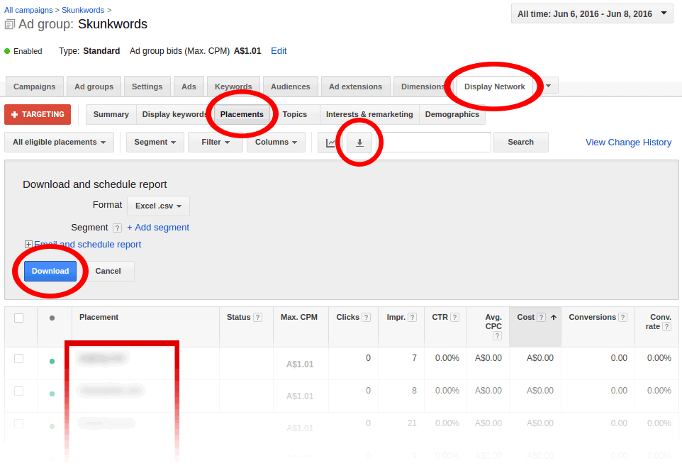 How To Download AdWords Placements